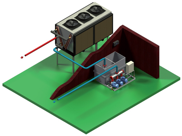 Схема установки водоохладителей Еврочиллер без гликоля